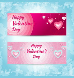 valentine hearts banner vector image