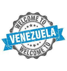 venezuela round ribbon seal vector image