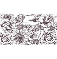 vintage flowers pattern line art roses and vector image
