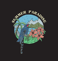 vintage hand drawn summer paradise vector image