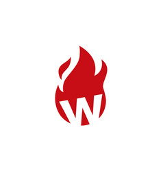 W letter fire flame logo icon vector