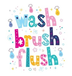 Wash brush flush decorative lettering type design vector