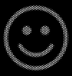 White dot glad smiley icon vector