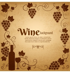 Wine and grapes frame with central copyspace vector