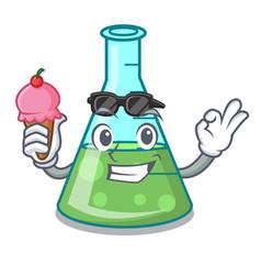 With ice cream science beaker character cartoon vector
