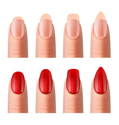 women nails manicure realistic images set vector image