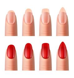 Women nails manicure realistic images set vector