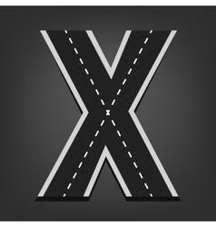 X letter Road font vector image