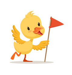 Yellow cartoon duckling holding red flag cute vector