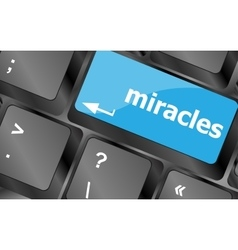Computer keyboard key button with miracles text vector image