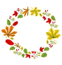 Fall season wreath design with doodle colorful lea vector image vector image