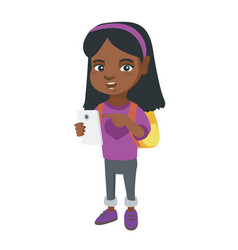 african girl with backpack pointing at cellphone vector image vector image