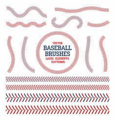 baseball laces set baseball seam brushes red and vector image