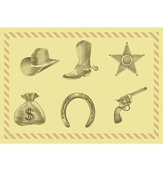cowboy icon set in engraving style vector image vector image
