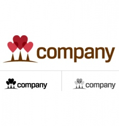 love heart tree logo vector image vector image