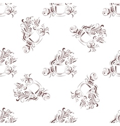 Seamless Pattern Hand Drawn Coffee Cup with Floral vector image vector image