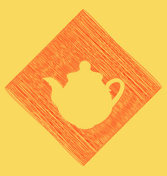 tea maker kitchen sign red scribble icon vector image vector image