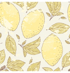 Vintage seamless pattern with hand drawn lemon vector image vector image