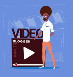 african american man over vlogger channel screen vector image vector image