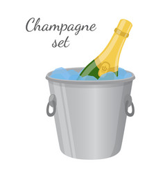 champagne in ice bucket cartoon flat style vector image vector image