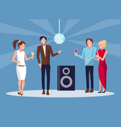 corporate party disco on blue vector image vector image
