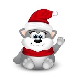Cute kitten in Santa hat vector image vector image