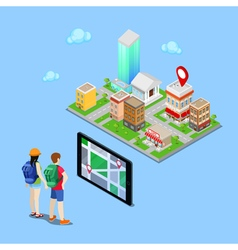 Isometric mobile navigation tourists vector