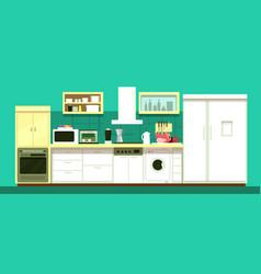 nobody cartoon kitchen room interior vector image vector image