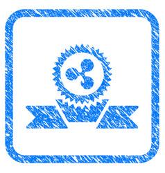 ripple award ribbon framed stamp vector image vector image
