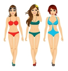three beautiful fashion girls walking in bikini vector image