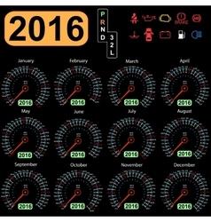 2016 year calendar speedometer car vector image vector image