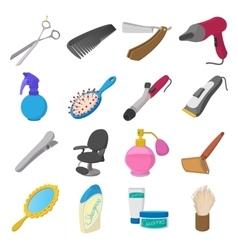 Barber shop cartoon icons vector image