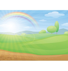 Kids cartoon landscape with rainbow vector image