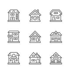 set line icons of houses vector image