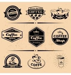 set of coffee labels design elements vector image
