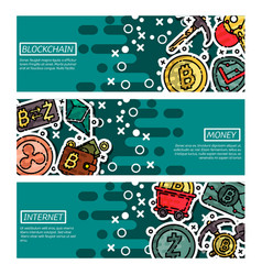 set of horizontal banners about blockchain vector image vector image