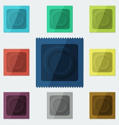 Set of semi-realistic condoms in different color vector image vector image
