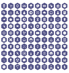 100 interface pictogram icons hexagon purple vector