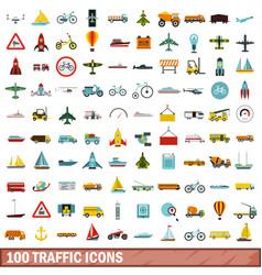 100 traffic icons set flat style vector image
