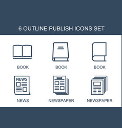 6 publish icons vector