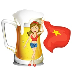 A girl holding the flag of Vietnam in front of a vector image