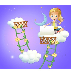 A girl sitting above cloud holding an empty vector