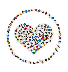 A group of people in a shape of heart icon in a vector