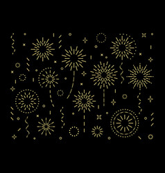 Abstract gold burst pattern fireworks set vector