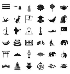 Asian travel icons set simple style vector