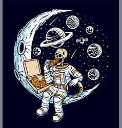 Astronaut eat pizza on moon vector