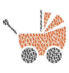 Baby carriage collage of dollar and dots vector