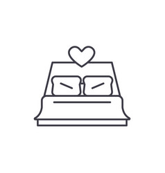 bed newlyweds line icon concept bed newlyweds vector image