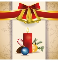 bell candle merry christmas celebration design vector image