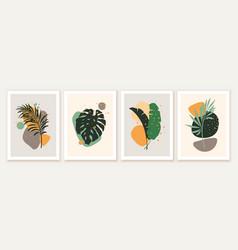 botanical and abstract shapes wall art design vector image